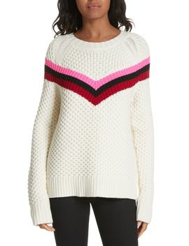 Varsity Stripe Popcorn Stitch Wool Blend Sweater by Milly
