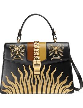 Medium Sylvie Top Handle Leather Bag by Gucci