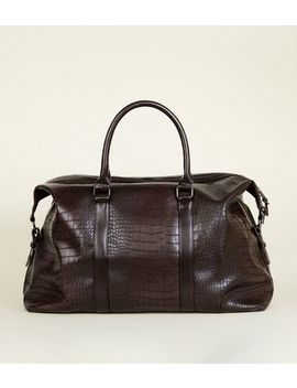 Dark Brown Faux Croc Holdall by New Look