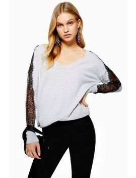 lace-insert-longline-knitted-top by topshop