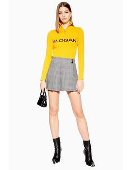 Petite Monochrome Check Kilt Skirt by Topshop