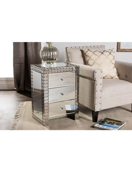 Baxton Studio Azura Modern Hollywood Regency Glamour Style Nightstand Bedside Table by Baxton Studio