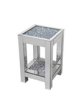 Best Quality Furniture Mirrored End Table With Encased Crystals by Generic