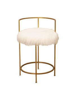 Louise Faux Fur Counter Stool Gold   Abbyson Living by Abbyson Living