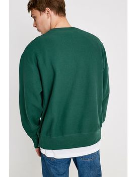 Champion Uo Exclusive Small Script Hunter Green Crew Neck Sweatshirt by Champion