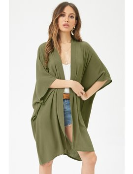 Longline Open Front Kimono by Forever 21