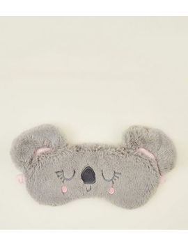 Grey Koala Fluffy Sleep Mask by New Look