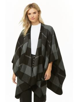 Brushed Check Poncho by Forever 21