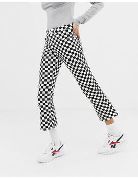 Asos Design Egerton Rigid Cropped Flare Jeans In Mono Checkerboard Print by Asos Design