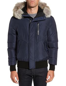 'florian' Down Bomber Jacket With Genuine Coyote Fur Trim by Mackage