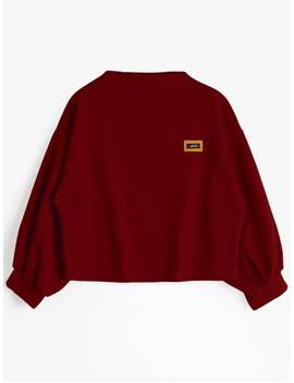 Badge Patched Lantern Sleeve Sweatshirt   Deep Red by Zaful