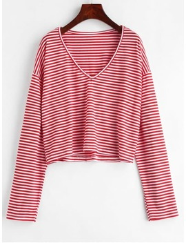 V Neck Striped Tee   Lava Red S by Zaful