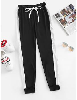 Contrast Panel Side Sweatpants by Shein