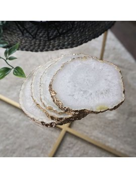 White Crystal Agate Coasters | Gold Edge | Set Of Two by Etsy