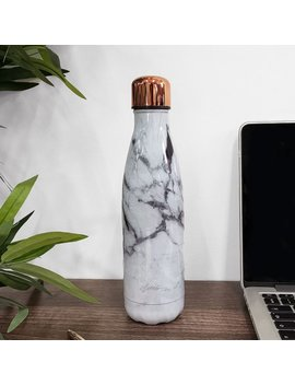 White Marble & Rose Gold Metal Water Bottle by Etsy