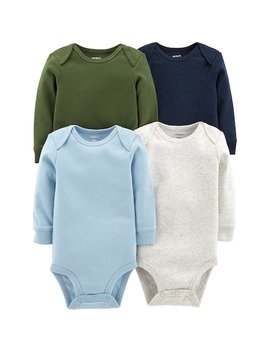 Baby Boy Carter's 4 Pk. Solid Long Sleeve Bodysuits by Kohl's