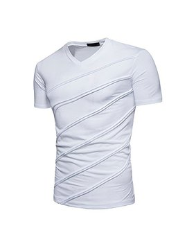Qingduomao Men Summer Casual V Neck T Shirt Short Sleeve Slim Fit Tops Tee by Qingduomao