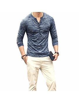 Longbida Mens Casual Slim Fit Long Sleeve Henley T Shirt Button V Neck Shirts Tee by Longbida
