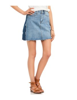 Destructed Two Tone Denim Mini Skirt by C&V Chelsea & Violet