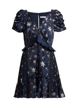 Ruffled Star Print Satin Mini Dress by Self Portrait