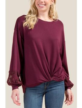 Sia Lace Sleeve Sweatshirt by Francesca's