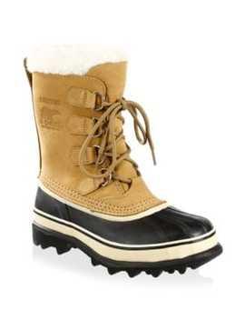 Caribou Leather & Faux Fur Lace Up Boots by Sorel