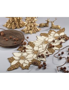 The Holiday Aisle Beaded Poinsettia Holiday Christmas Table Runner & Reviews by The Holiday Aisle