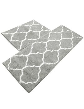 Kitchen Mat, U'artlines Decorative Non Slip Microfiber Doormat Bathroom Mats Shower Rugs For Living Room Floor Mats Set (17.7x25.6+17.7x47.2, Gray) by U'artlines
