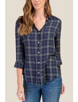Betty Plaid Pocket Button Down by Francesca's