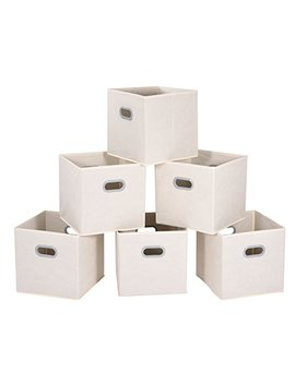 Maid Max Cloth Storage Bins Cubes Baskets Containers With Dual Plastic Handles For Home Closet Bedroom Drawers Organizers, Foldable, Beige, 12×12×12″, Set Of 6 by Maid Max
