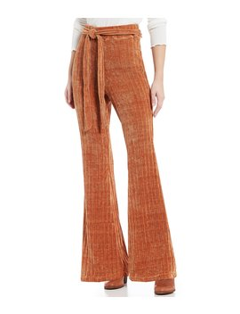 Chenille Tie Waist Flare Pants by Gb