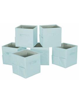 Storage Maniac 6 Pack Foldable Storage Cubes Basket Bins With Side Pockets, Full Coroplast Storage Organizer Drawers With Extra Thick Fabric, Aqua Blue by Storage Maniac