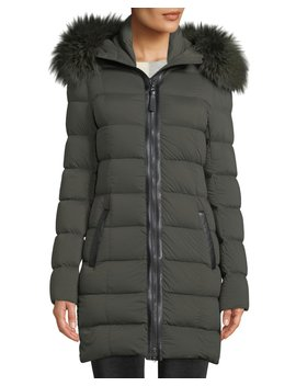 Calla Hooded Puffer Coat W/ Fur Trim by Mackage