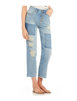 Adored Straight Crop Frayed Hem Jeans by Jessica Simpson
