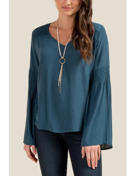 Kierra Smocked Sleeve Blouse by Francesca's