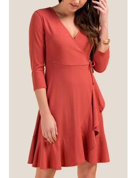 Ashlynn Rib Knit Wrap Dress by Francesca's