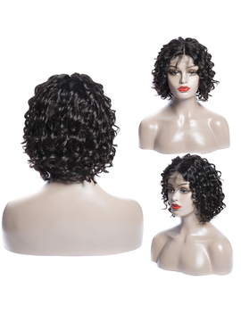 Virgo Loose Wave Wig Brazilian Bob Wig Middle Part 4x4 Lace Front Short Human Hair Wigs For Black Women Remy Hair 150 Percents Density by Volys Virgo