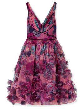 Velvet Trimmed Printed Organza Dress by Marchesa Notte