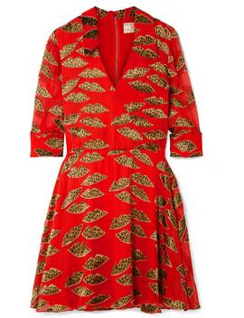 Catina Wrap Effect Devoré Chiffon Mini Dress by Alice + Olivia