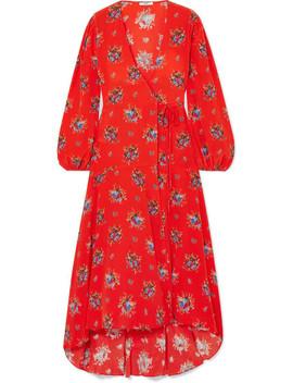 Kochhar Floral Print Washed Silk Wrap Dress by Ganni