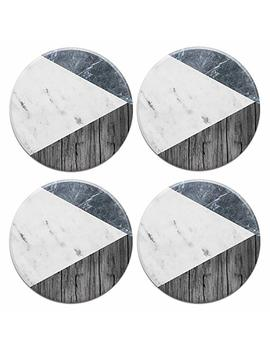 Caribou Round Ceramic Stone Coasters 4pcs Set, Mug Coffee Cup Place Mat Home Coasters For Hot & Cold Drinks, Blue White Marble Wood by Caribou Coasters