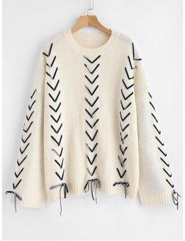 Velvet Threaded Oversized Sweater   Warm White by Zaful