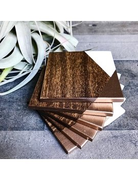 Rose Gold Dipped Wood Coasters, Solid Wood Coasters, Modern Farmhouse Rose Gold Coasters, Square Mid Century Modern Coasters by Etsy