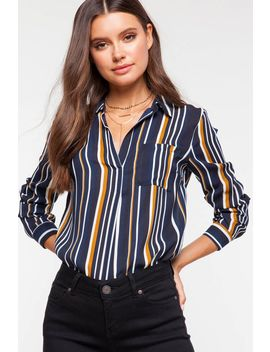 Multi Stripe Pocket Shirt by A'gaci