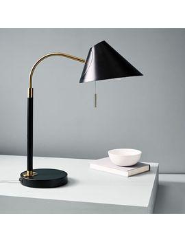 Mid Century Task Table Lamp + Usb   Black by West Elm