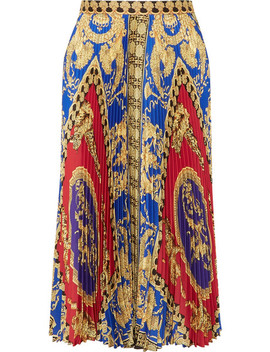 Pleated Printed Satin Midi Skirt by Versace