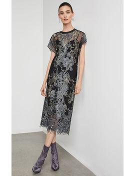 Metallic Embroidered Midi Dress by Bcbgmaxazria