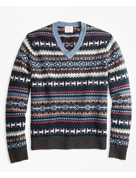 Fair Isle Wool Blend V Neck Sweater by Brooks Brothers