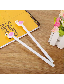 Pink Color Flamingos Shell Gel Pen Diy Office Stationery And School Supplies Smooth Writing Black And Blue Ink 0.5mm Pen 1 Pcs by Mxluodx