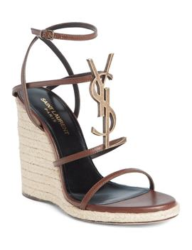 Cassandra Ysl Logo Wedge Sandal by Saint Laurent